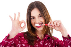 Women brushing her teeth, show perfect gesture Stock Images