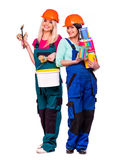 Women builder  with construction tools Stock Photo