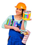Women builder  with construction tools Stock Image