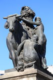 Women with bull Statue - Barcelona Royalty Free Stock Photography
