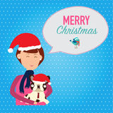 Women and the bulldog with santa claus hat and say merry christm Royalty Free Stock Photo