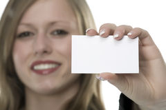 Women with business card in hand. And white background Stock Image