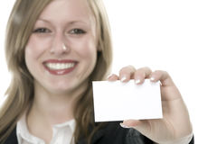 Women with business card in hand. And white background Royalty Free Stock Photos