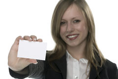 Women with business card in hand. And white background Royalty Free Stock Image
