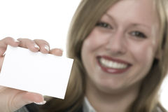 Women with business card in hand. And white background Royalty Free Stock Images