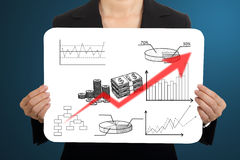 Women Business hold white board Royalty Free Stock Image