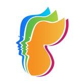 Women butterfly. Women face profile butterfly shape vector template Stock Photos