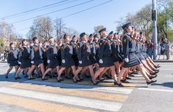 Women-cadets of police academy marching on parade Royalty Free Stock Images