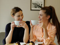 Women in cafe Royalty Free Stock Image