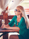 Women in cafe at sea Royalty Free Stock Images