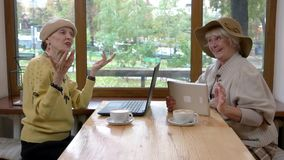 Women in cafe using gadgets. stock video