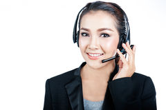 Women call center smiling Stock Photo
