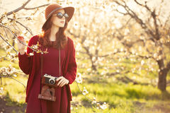 Women with camera in blossom apple tree garden Stock Photo