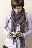 Women with camera Stock Photography