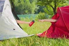 Women camping Stock Image
