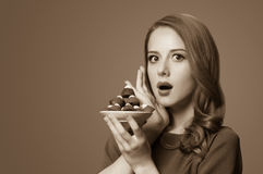 Women with candy Stock Photos