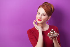Women with candy Royalty Free Stock Images
