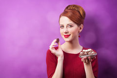 Women with candy Stock Photo