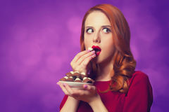 Women with candy Royalty Free Stock Photography