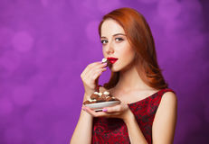 Women with candy Royalty Free Stock Image