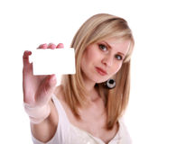 Women with card. Focus on card Stock Photo