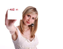 Women with card. Focus on women Royalty Free Stock Images