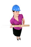 Women with cardboard tube Stock Images