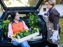 Women care for flowers royalty free stock image