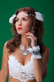 Women in carnival dresses Royalty Free Stock Images