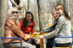 Women in carousel Royalty Free Stock Image
