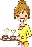 Women carrying a cup of coffee. This is an illustration of a woman carrying a cup of coffee Royalty Free Stock Image