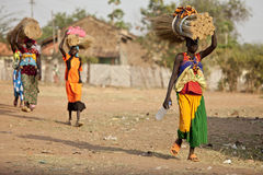 Women carrying loads, South Sudan Royalty Free Stock Photography