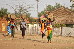 Women carrying loads in South Sudan Royalty Free Stock Photo