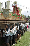 Women carrying shrine during Holy Week procession stock images