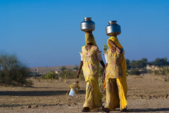 Women carrying water in Rajasthan - India Stock Photo