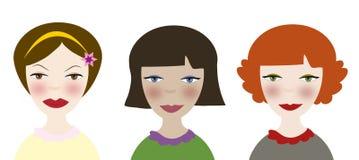 Women cartoon portrait. Set of three female portrait in cartoon style, usable as avatar. Vector Stock Photos