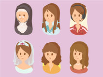Women Cartoon Set 2vector Royalty Free Stock Photography