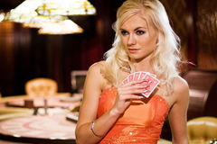 Women in casino Royalty Free Stock Photo