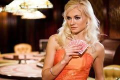 Women in casino. Young europian women in casino Royalty Free Stock Photo