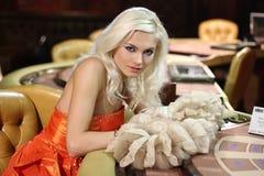 Women in casino. Young europian women in casino Royalty Free Stock Photography