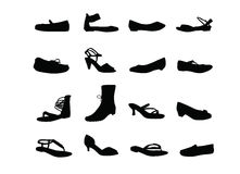 Women casual shoes silhouettes Stock Photos