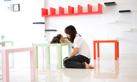 Women with cat. Thai girl play with baby cat Stock Images