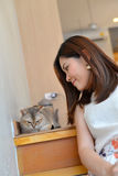 Women with cat Royalty Free Stock Image