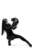 Women and cats. black and white photo. Stock Photography