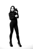 Women and cats. black and white photo. Royalty Free Stock Photo