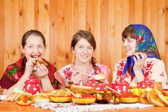 Women  celebratig Shrovetide Stock Photo