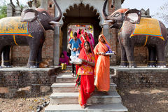 Women celebrating Gangaur Festival Rajasthan India Royalty Free Stock Photography