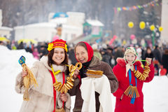 Women celebrating Maslenitsa festival royalty free stock image