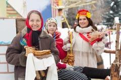 Women celebrating Shrovetide stock photo