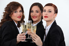 Women celebrating with a wine Stock Photo